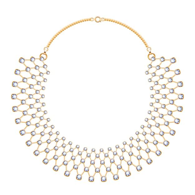 Muitas correntes. colar metálico dourado com pedras de diamantes. acessório de moda pessoal. Vetor Premium
