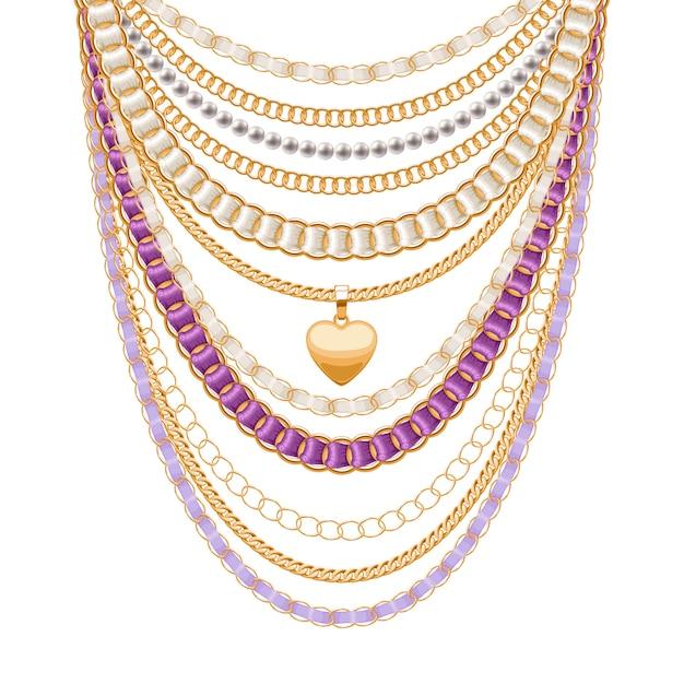 Muitas correntes metálicas douradas e colar de pérolas. fitas embrulhadas. pingente de coração dourado. acessório de moda pessoal. Vetor Premium