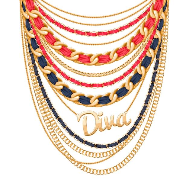 Muitas correntes metálicas douradas e colar de pérolas. fitas embrulhadas. pingente de palavra diva. acessório de moda pessoal. Vetor Premium