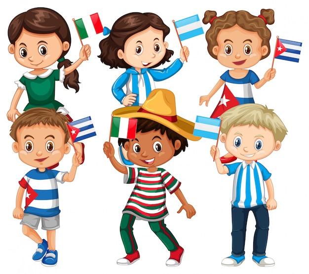 Muitas crianças segurando bandeira de diferentes países Vetor grátis