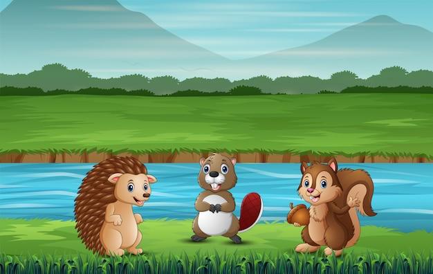 Muitos animais em pé junto ao rio Vetor Premium