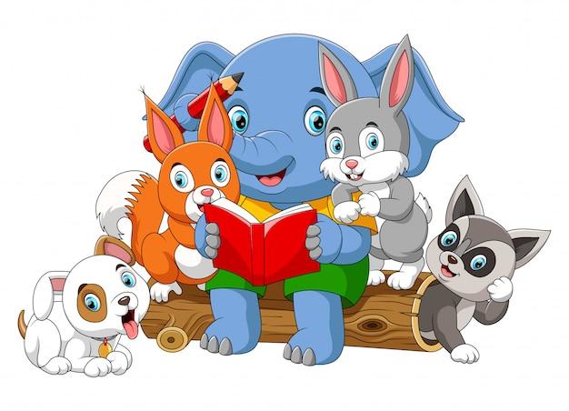 Muitos animais lendo livro com grande elefante Vetor Premium