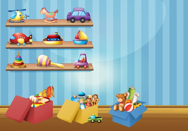 Muitos brinquedos nas prateleiras e no chão Vetor grátis