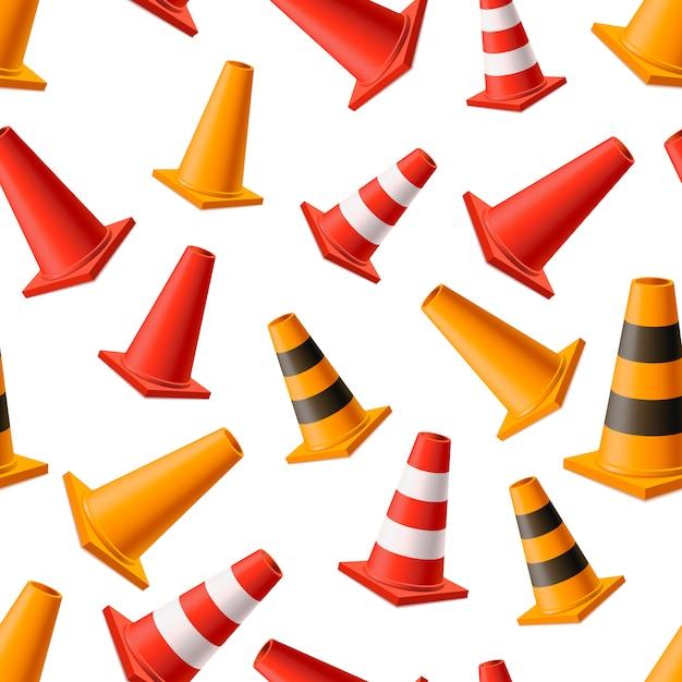Muitos cones de estrada amarelo e vermelho brilhante, sem costura padrão em branco Vetor Premium