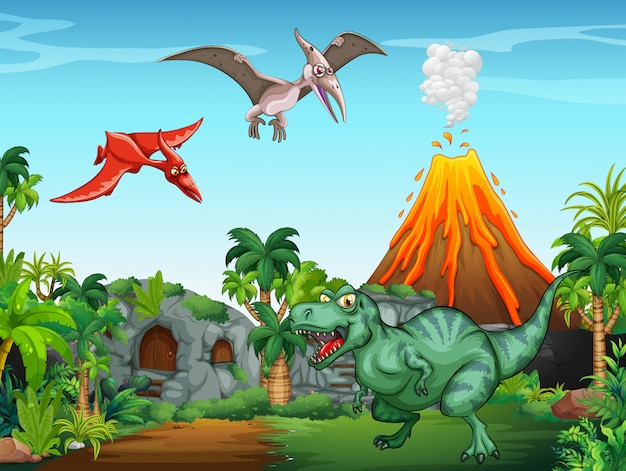 Muitos dinossauros no campo Vetor grátis