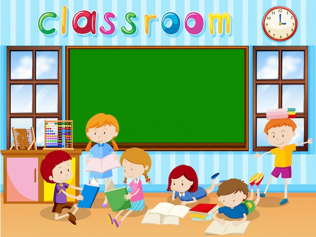 Muitos estudantes lendo livro na sala de aula Vetor grátis