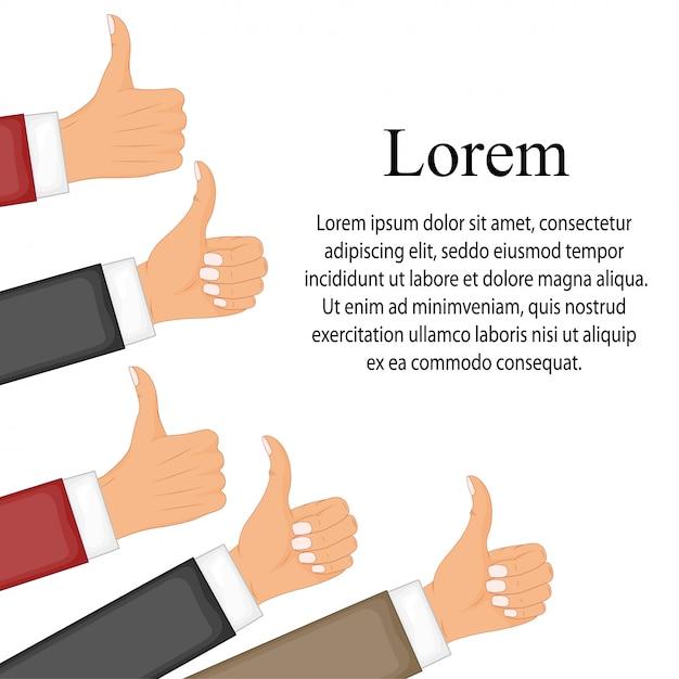 Muitos polegares para cima. gosta de rede social, aprovação, conceito de feedback de clientes Vetor Premium