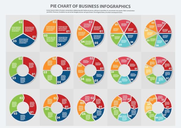 Muitos tipos de gráfico de pizza para empresas Vetor Premium