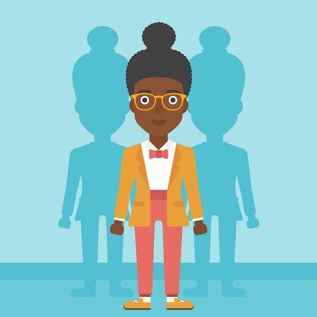 Mulher à procura de ilustração vetorial de emprego. Vetor Premium