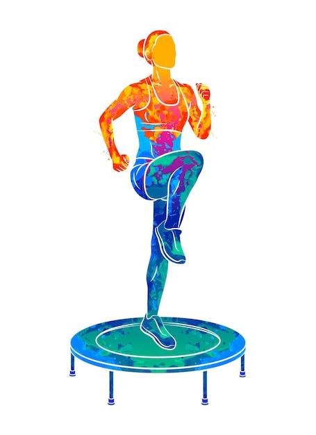 Mulher abstrata pulando na cama elástica. garota jovem fitness treina em um mini trampolim de respingos de aquarelas. ilustração de tintas Vetor Premium