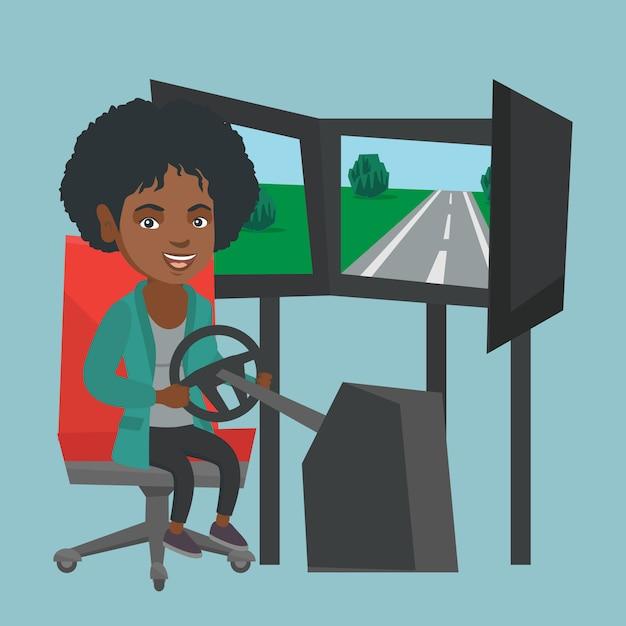 Mulher africana nova que joga o jogo video da corrida de carros. Vetor Premium