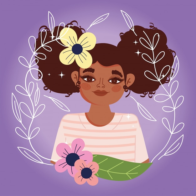 Mulher afro-americana desenho animado flores folhagem retrato ilustração vetorial natural Vetor Premium