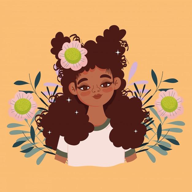 Mulher afro-americana desenho animado flores folhagem retrato ilustração vetorial Vetor Premium