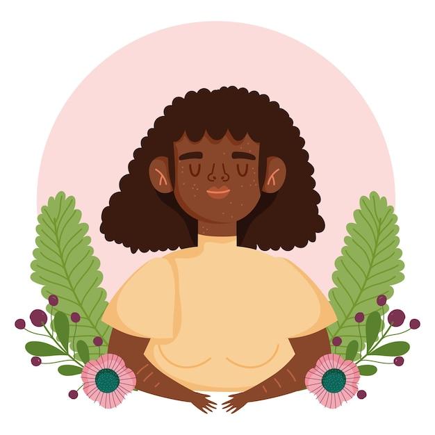 Mulher afro-americana perfeitamente imperfeita com ilustração de personagem de desenho animado com flores sardas Vetor Premium