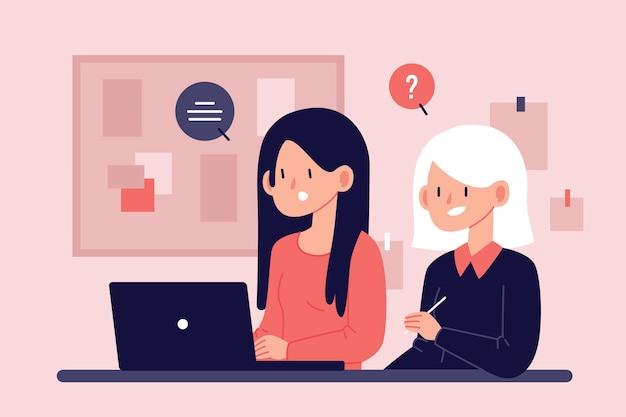 Mulher ajudando estagiário a se ajustar Vetor Premium