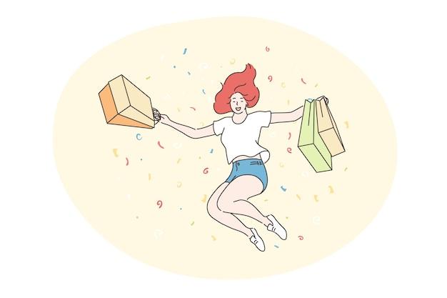 Mulher alegre feliz ou adolescente shopaholic pulando com sacolas de loja. Vetor Premium