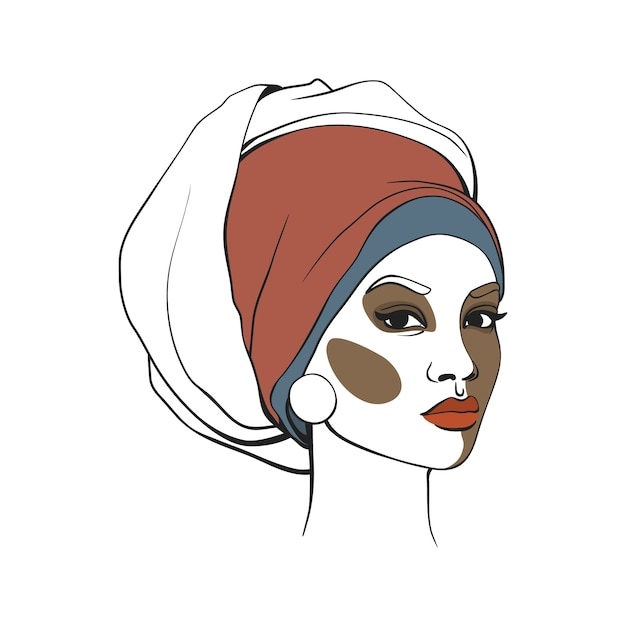 Mulher americana africana, em, headscarf Vetor Premium