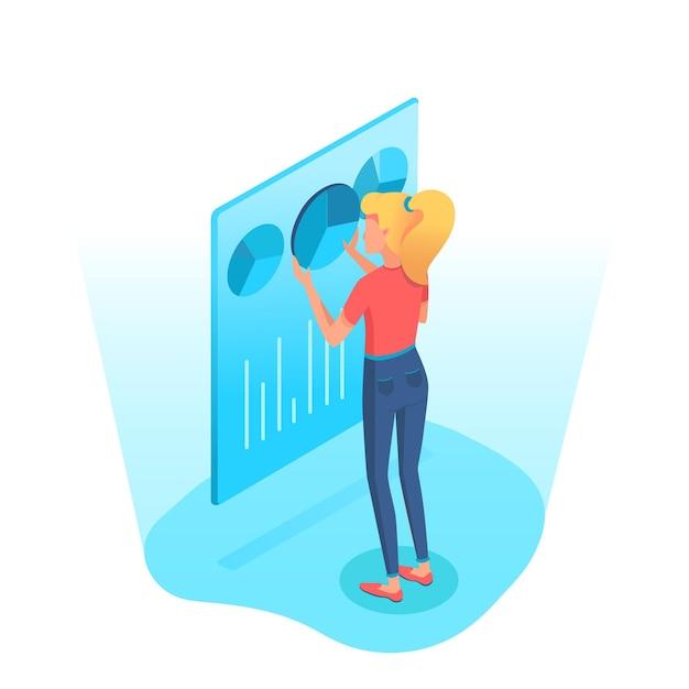Mulher analisando gráficos de pizza, gráfico, diagrama na tela Vetor Premium