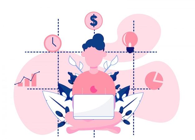 Mulher, analisando, relatórios negócio Vetor Premium