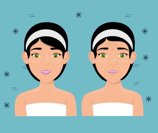 Mulher antes e após o tratamento da pele Vetor grátis