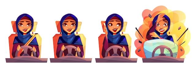 Mulher árabe, dirigindo, ilustração carro, de, menina, em, hijab arábia saudita, com, não, aperte, seatbelt Vetor grátis