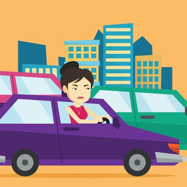 Mulher asiática com raiva no carro preso no engarrafamento. Vetor Premium