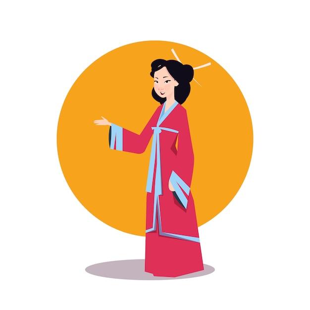 Mulher asiática no quimono japonês Vetor Premium