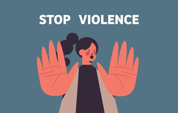 Mulher assustada e apavorada com hematomas no rosto parar violência e agressão conceito retrato ilustração vetorial horizontal Vetor Premium