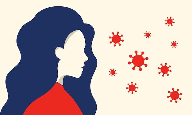 Mulher avisando, com medo da propagação do vírus corona. Vetor Premium