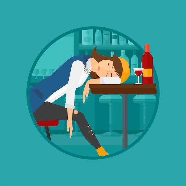 Mulher bêbada dormindo no bar. Vetor Premium