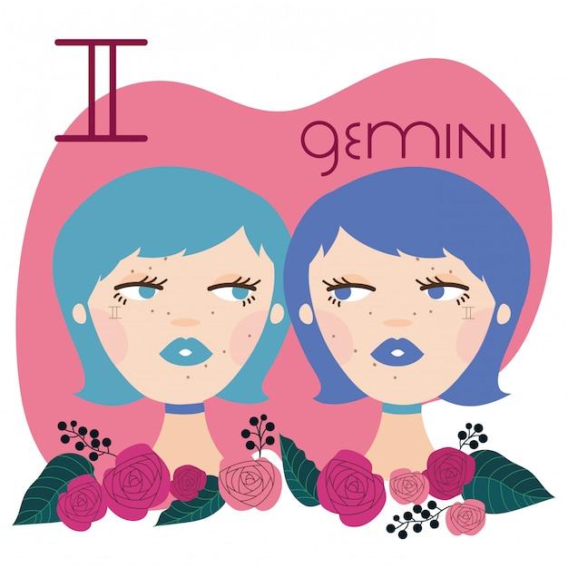 Mulher bonita com ilustração de signo de gêmeos Vetor Premium