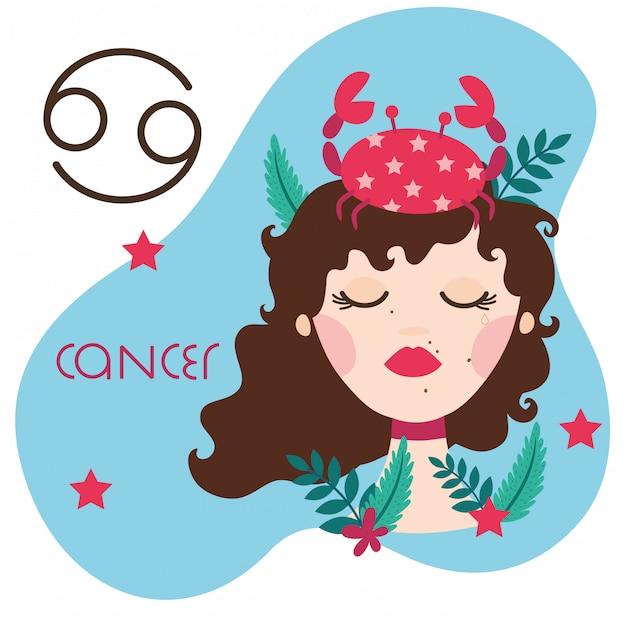 Mulher bonita com ilustração do signo de câncer Vetor Premium