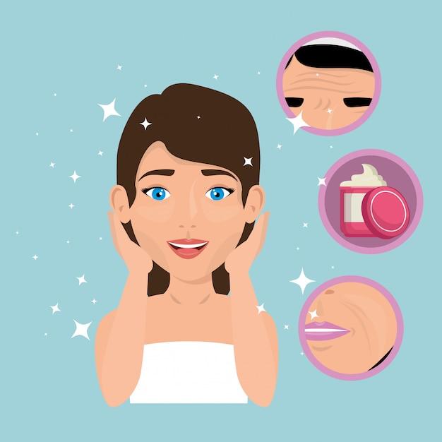 Mulher bonita em tratamento facial Vetor grátis