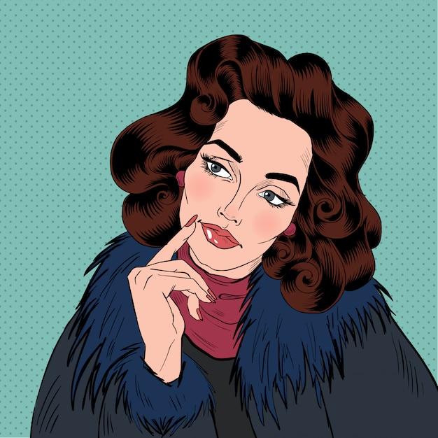 Mulher bonita estilo de quadrinhos de arte pop Vetor Premium
