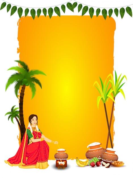 Mulher bonita, mexendo o arroz no pote de barro com frutas, doce indiano (laddu), cana e coco em amarelo e branco para happy pongal. Vetor Premium