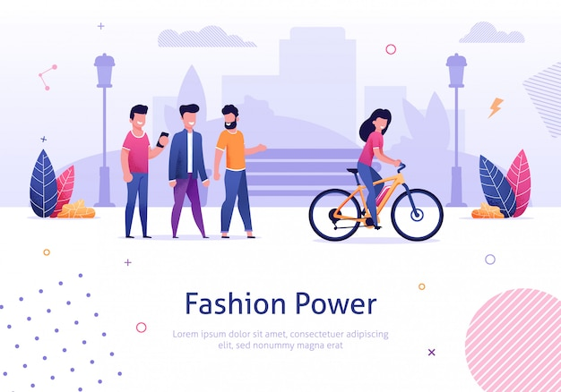 Mulher bonita, passeio, bicicleta elétrica homem, olhando trás Vetor Premium