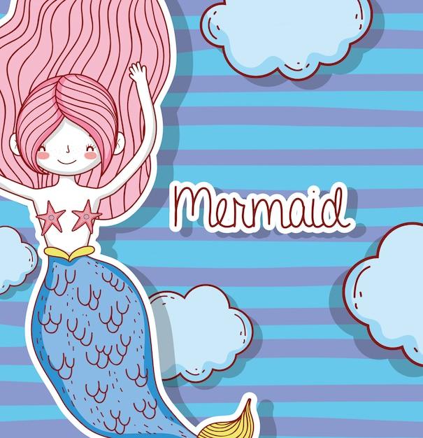 Mulher bonita sereia com penteado e nuvens Vetor Premium