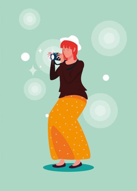 Mulher bonita tirando uma foto Vetor Premium