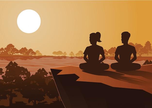 Mulher budista e homem treinam meditação Vetor Premium