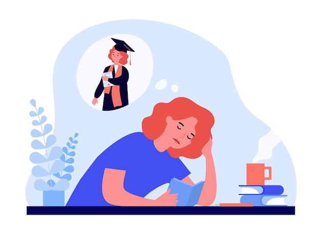 Mulher cansada, aprendendo por causa do diploma. Vetor Premium
