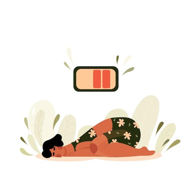 Mulher cansada encontra-se no chão. mão de pessoa a dormir desenhada. garota caiu por falta de energia com a bateria no topo Vetor Premium