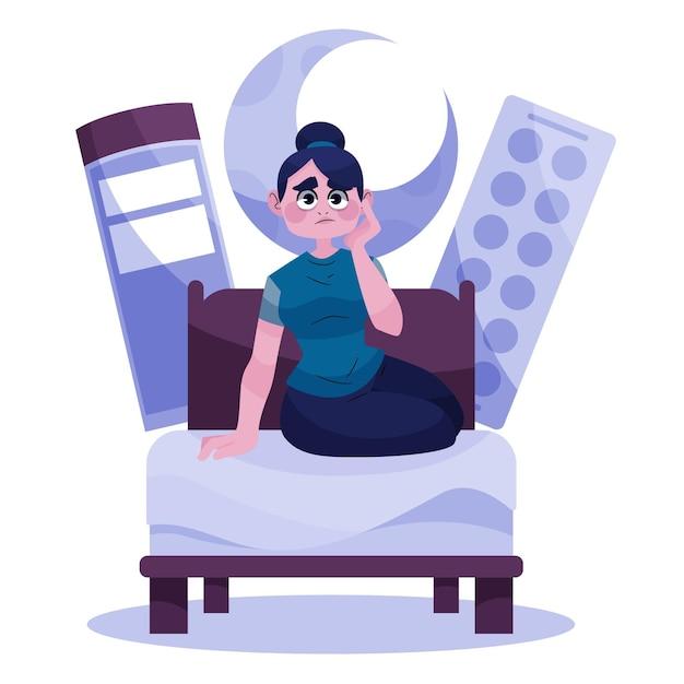 Mulher cansada tentando dormir Vetor grátis