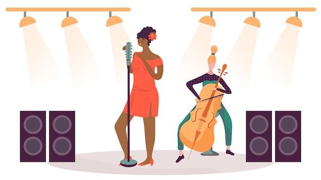 Mulher cantando no palco, músico tocando violoncelo, ilustração vetorial Vetor Premium