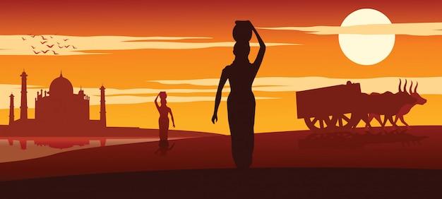 Mulher carrega água para uso rotineiro Vetor Premium