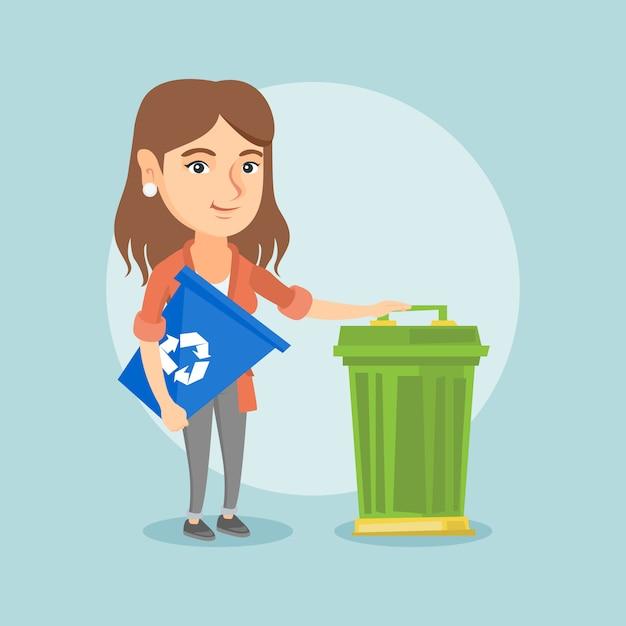 Mulher caucasiana com lixeira e lixo pode. Vetor Premium