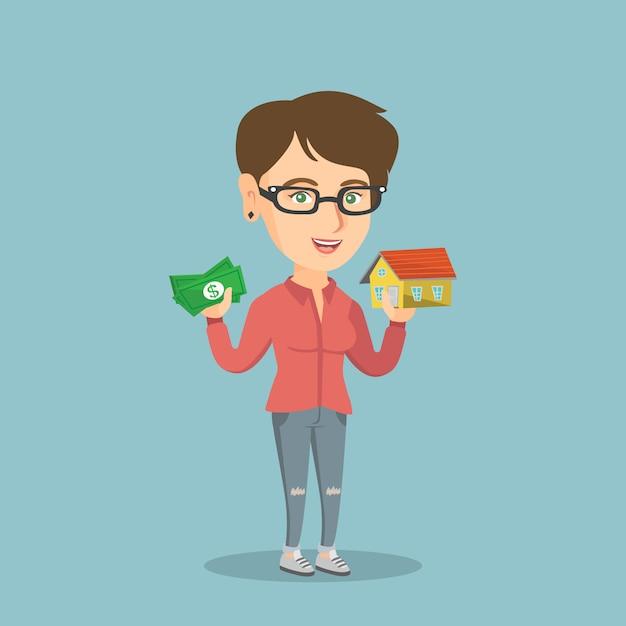 Mulher caucasiana, comprar casa graças ao empréstimo. Vetor Premium