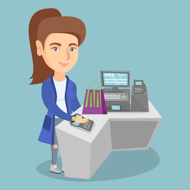 Mulher caucasiana, pagando sem fio com um relógio inteligente Vetor Premium