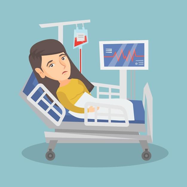 Mulher caucasiano nova que encontra-se na cama de hospital. Vetor Premium