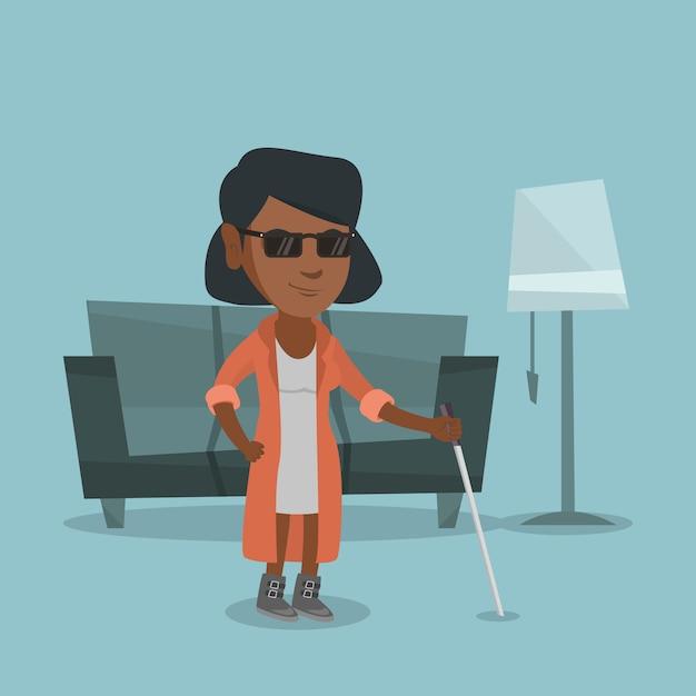 Mulher cega afro-americana nova com uma vara. Vetor Premium