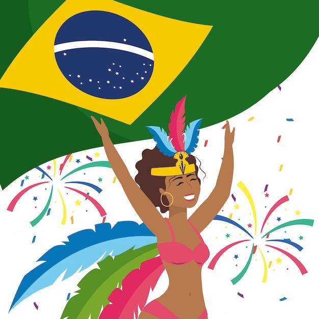 Mulher, celebrando, brasil, carnaval, vetorial, ilustração Vetor Premium